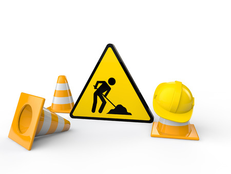work site: 3d men at work sign and cones