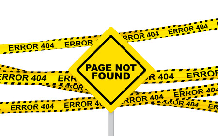 error: 3d yellow error 404 ribbons