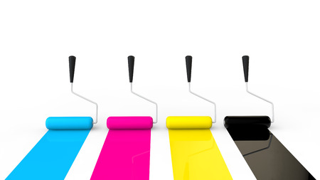 rollers: 3D CMYK paint rollers
