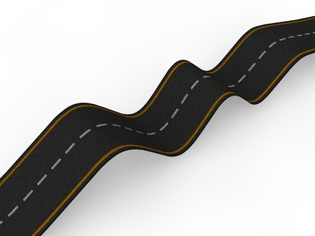 3d bumpy road with ups and downs Stock Photo