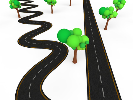 3d zigzag vs straight road