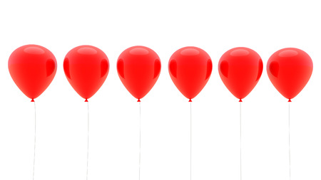 red balloons: 3d red balloons in a row