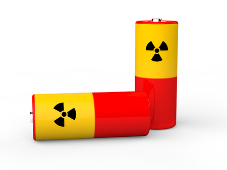 radiations: 3d batteries with radiations symbol Stock Photo