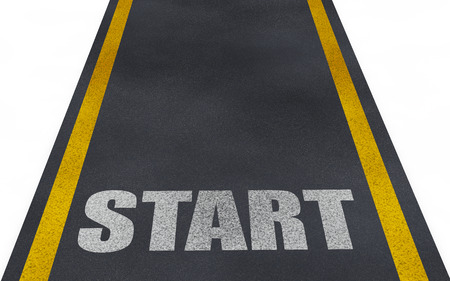 establishing: 3d road with start text