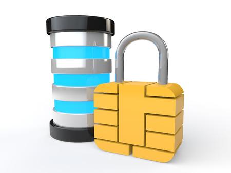 lock  futuristic: 3d futuristic server and lock Archivio Fotografico