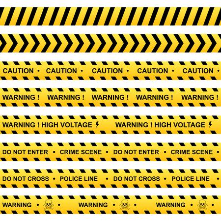 warning: Set of yellow warning ribbons