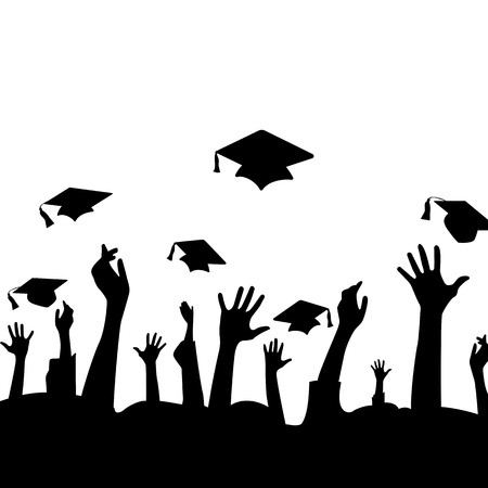 college students: Hands and graduation hats