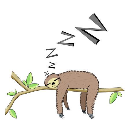 sloth: Perezoso durmiendo Cartoon Foto de archivo