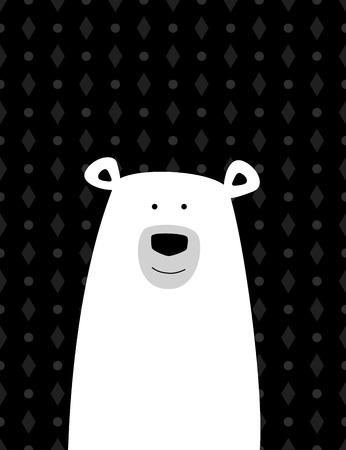 oso negro: Oso polar blanco de dibujos animados