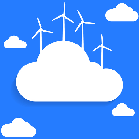 turbines: Flat style clouds and wind turbines