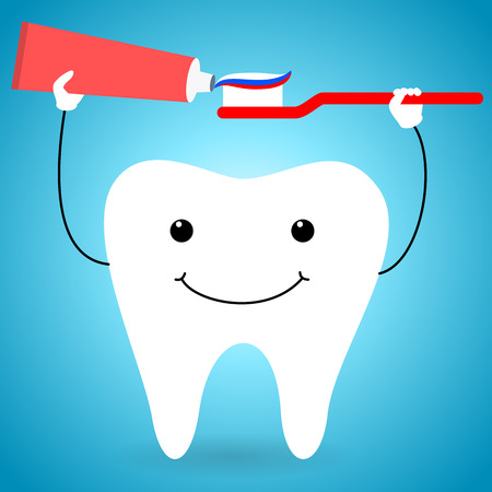 paste: Happy tooth with brush and paste