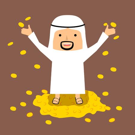 arab adult: Rich Arab man with gold coins