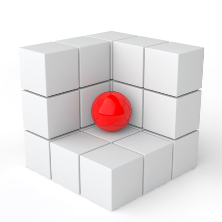 red sphere: 3d red sphere in white cubes