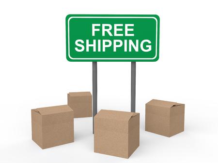 cartons: 3d cartons and free shipping sign Stock Photo