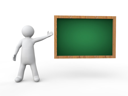 blackboard cartoon: 3d man and blank green board