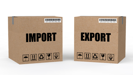 export import: 3d cartons with import export text