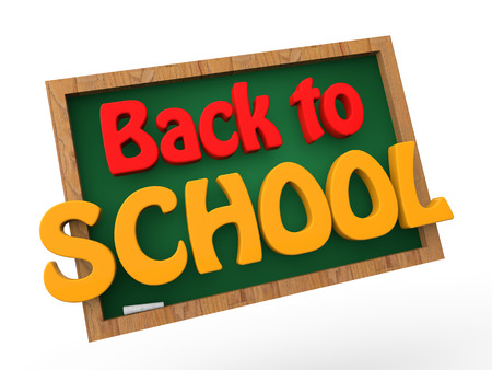 3d back to school green board Stock Photo