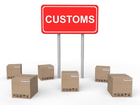 customs: 3d customs sign board with cartons Stock Photo
