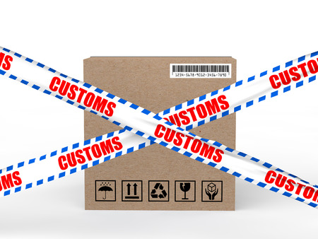import trade: 3d carton box with customs control