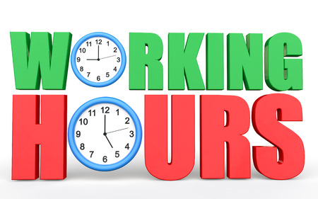 working hours: 3d Working hours text with clocks