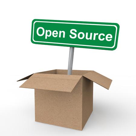 box open: Open source sign board in open box