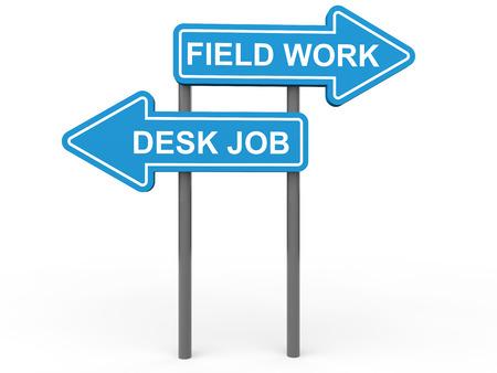 field work: 3d desk job and field work choice Stock Photo