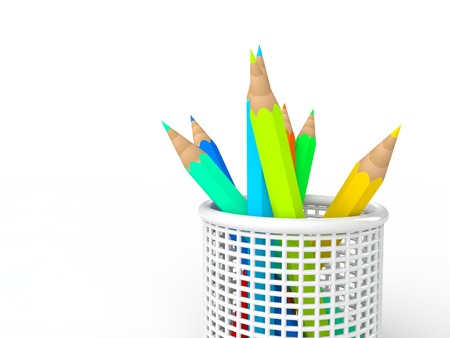 pencil holder: 3d pencils in pencil holder