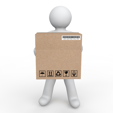 carrying box: 3d man carrying a delivery box