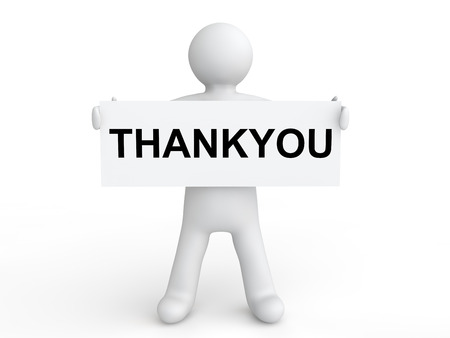 3d man holding thank you placard Stock Photo