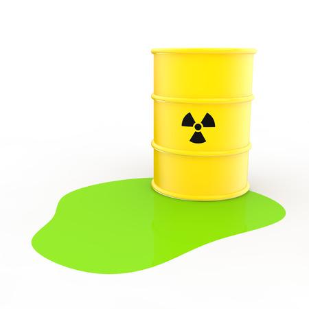 spillage: Radiations barrel and green liquid