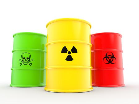 hazardous waste: 3d barrels with warning symbols