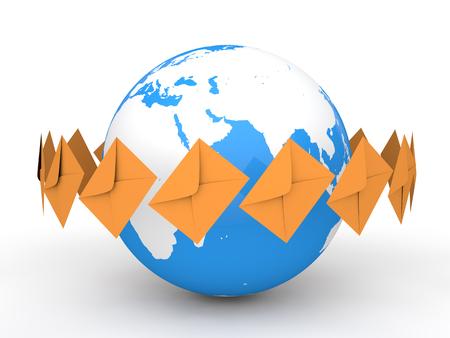 envelopes: 3d earth globe and envelopes