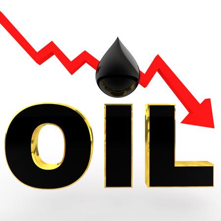 3d oil price drop concept