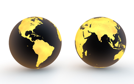 gold earth: 3d black and gold earth globes