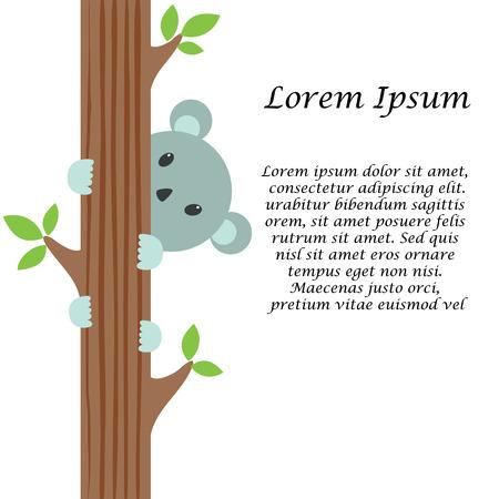 koala: Cute shy cartoon koala illustration
