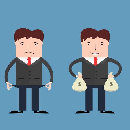 persona feliz: Empresarios pobres y ricos