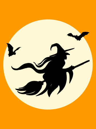 haunting: Halloween witch and bats silhouette