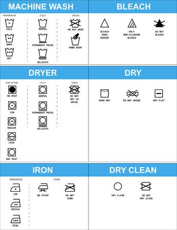 laundry care symbol: Set of clothing care symbols