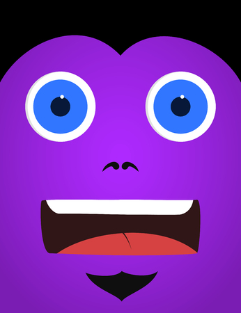 scared: Purple scared monster face Stock Photo