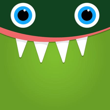 green cute: Green monster face background
