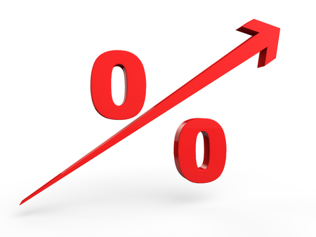 percentage sign: 3d rising percentage sign Stock Photo