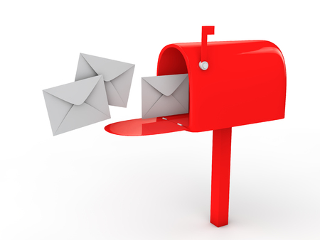 metal mailbox: 3d mail box and envelopes Stock Photo