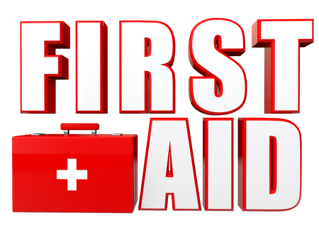 first aid box: 3d first aid box and text Stock Photo