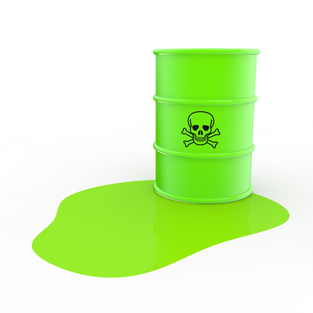 steel drum: 3d green toxic material and barrel