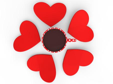 3d heart: 3d heart shapes around coffee mug