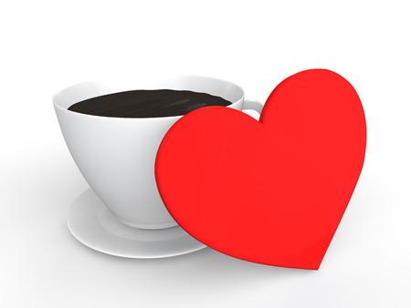 3d heart: 3d heart and tea cup Stock Photo