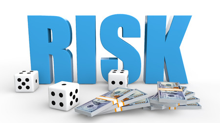 dices: 3d dices and money risk Stock Photo