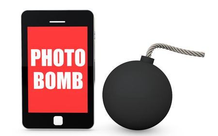 prank: 3d mobile phone photo bomb concept