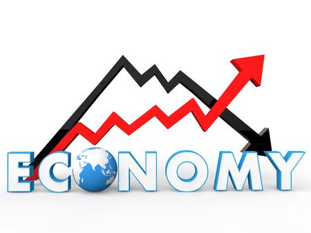 economia: Flechas 3d concepto de la economía mundial