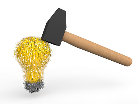 or shatter: 3d hammer breaking a bulb